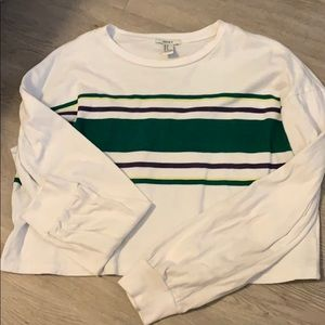 Forever21 striped cropped long sleeve tshirt